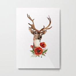 Deer with flowers 2 Metal Print