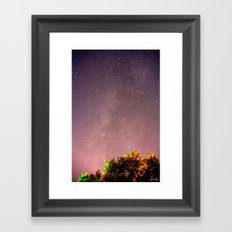 Meteors near the Milky Way II Framed Art Print