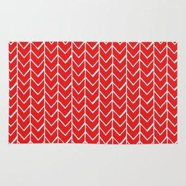 Herringbone Red Rug