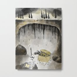 """""""X"""" Marks the Spot - Haunting Skeleton in a Cave Drawing Metal Print"""
