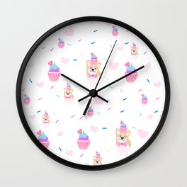 cupcake and corgi Wall Clock