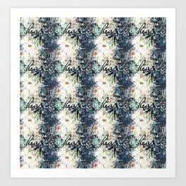 Happy Love Heart Family Pattern Blue Pastel Abstract Art Print