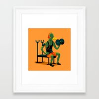 workout Framed Art Prints featuring Pigeon Workout by Chi Birmingham