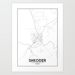 Minimal City Maps - Map Of Shkoder, Albania. Art Print