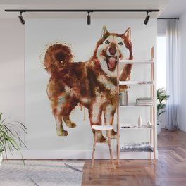 Husky Dog Watercolor Painting Wall Mural