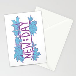 New;Day Purple and Cyan Stationery Cards