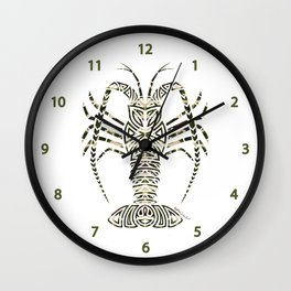 Tribal Camouflage Spiny Lobster on White Wall Clock