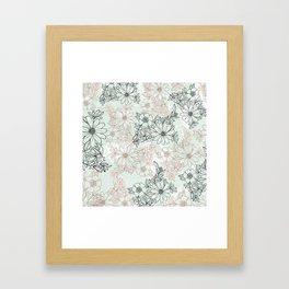 Mint black faux rose gold floral marble Framed Art Print
