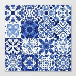 Indigo Watercolor Tiles Canvas Print