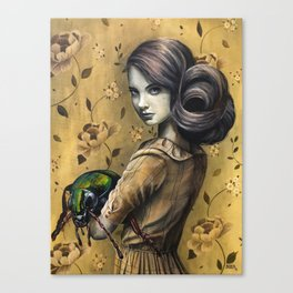 Portrait of a girl with her pet beetle Canvas Print