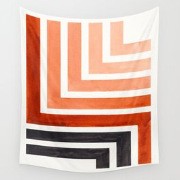 Burnt Sienna Mid Century Modern Watercolor Colorful Ancient Aztec Art Pattern Minimalist Geometric P Wall Tapestry