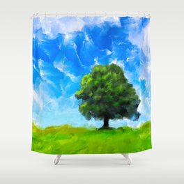 Lone Tree - Abstract Landscape Shower Curtain
