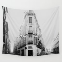 france Wall Tapestries featuring Monochrome France by MarioGuti