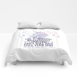 I am a strong independent unicorn - The lightning struck heart Comforters