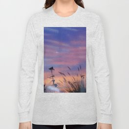 LOOK OUTSIDE - Flowers & Sunset #1 #art #society6 Long Sleeve T-shirt