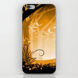 Dark Forest at Dawn in Amber iPhone Skin