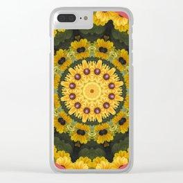 Black-eyed Susans, Floral mandala-style Clear iPhone Case