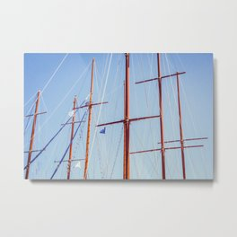 Sails in Santorini Metal Print