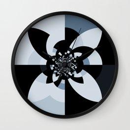 Steel Blue Black Kaleidoscope Wall Clock
