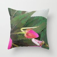 hot pink Throw Pillows featuring Hot Pink by Glenn Designs