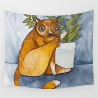 ginger Wall Tapestries featuring Ginger Cat by Nora Illustration
