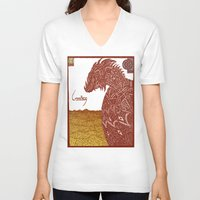 smaug V-neck T-shirts featuring Smaug and His Treasure by Hinterlund