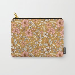 Vintage floral background. Flowers pattern with small flowers on a gold background.  Carry-All Pouch