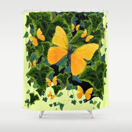 GREEN IVY LEAVES & YELLOW BUTTERFLIES Shower Curtain
