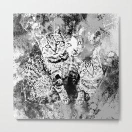 cat trio splatter watercolor black white Metal Print