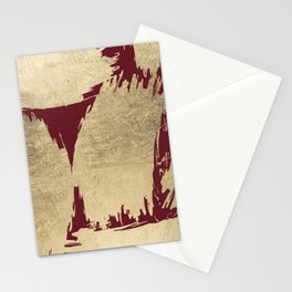 Abstract burgundy gold paint brush strokes Stationery Cards