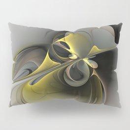 Abstract, Golden Gray Fractal Art Pillow Sham