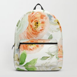 Big Peach and White Flowers Backpack