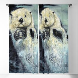 Sea otter painting Blackout Curtain
