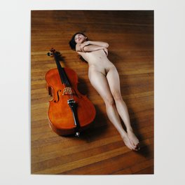 0137-JC Nude Cellist with Her Cello and Bow Naked Young Woman Musician Art Sexy Erotic Sweet Sensual Poster