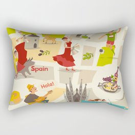 Abstract Spain vector map. Illustrated map of Spain for children/ Rectangular Pillow