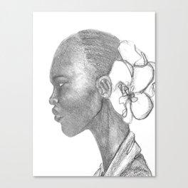 Black woman w/ white orchid Canvas Print