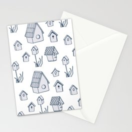Bird House Drawings, Pattern Stationery Cards