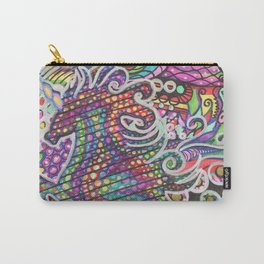 Unicorn Mandala Psychedelic Pattern Ink Drawing Carry-All Pouch