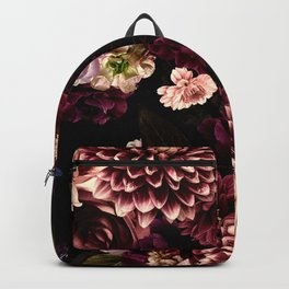 Vintage & Shabby Chic- Real Chrysanthemums Lush Midnight Flowers Botanical Garden Backpack