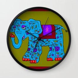 Blue Elephant with Pink Fleur de Lis Wall Clock
