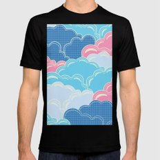 Pillows in the Sky (Clouds no.2) Mens Fitted Tee Black MEDIUM