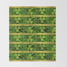 Irish Shamrock -Clover Gold and Green pattern Throw Blanket