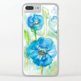 Blue flowers 1 Clear iPhone Case