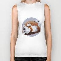 red panda Biker Tanks featuring panda by JuliaTara