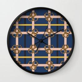 Leopard Check Mix Pattern Print II Wall Clock