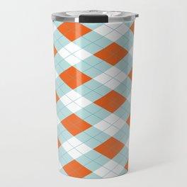 Aqua, Mint and Coral Orange Argyle Pattern Travel Mug
