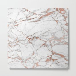 White & Gold Faux Marble Metal Print
