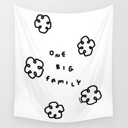 One Big Family - Black White Illustration Wall Tapestry
