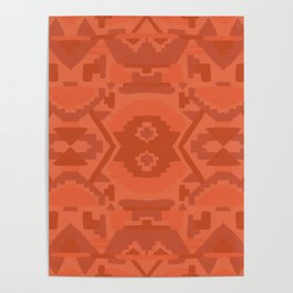 Geometric Aztec in Chile Red Poster
