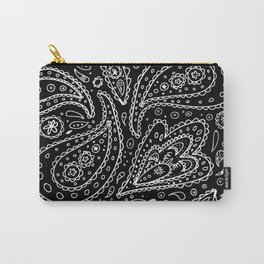 Classic Black and White Paisley Carry-All Pouch